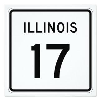 """Ruta 17 de Illinois Invitación 5.25"""" X 5.25"""""""