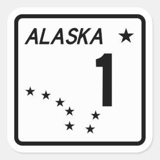 Ruta 1, Alaska, los E.E.U.U. Pegatina Cuadrada