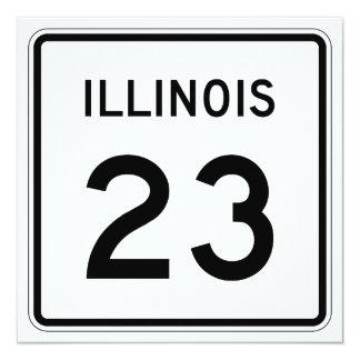 """Ruta 23 de Illinois Invitación 5.25"""" X 5.25"""""""