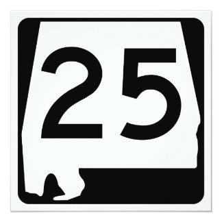 """Ruta 25 del estado de Alabama Invitación 5.25"""" X 5.25"""""""