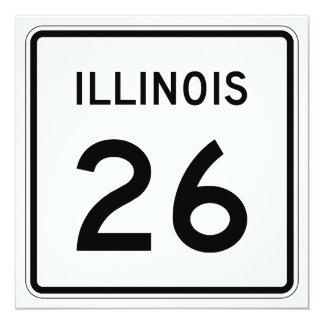 """Ruta 26 de Illinois Invitación 5.25"""" X 5.25"""""""