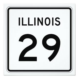 """Ruta 29 de Illinois Invitación 5.25"""" X 5.25"""""""