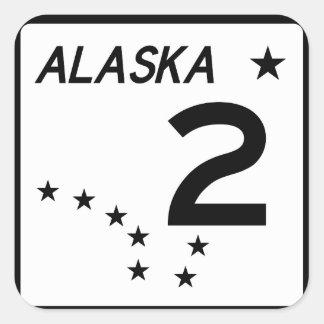 Ruta 2 del estado de Alaska Pegatina Cuadrada