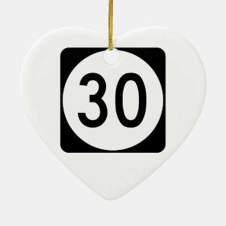 Ruta 30 de Kentucky Adorno Navideño De Cerámica En Forma De Corazón