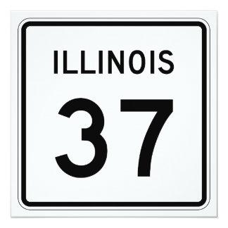 """Ruta 37 de Illinois Invitación 5.25"""" X 5.25"""""""