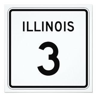 """Ruta 3 de Illinois Invitación 5.25"""" X 5.25"""""""