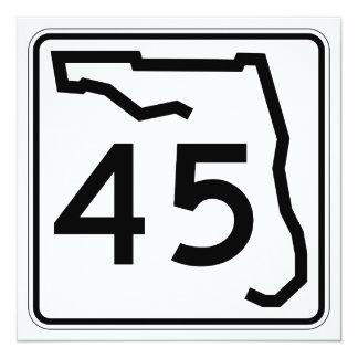 """Ruta 45 del estado de la Florida Invitación 5.25"""" X 5.25"""""""