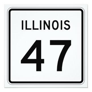 """Ruta 47 de Illinois Invitación 5.25"""" X 5.25"""""""