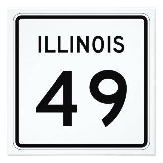 """Ruta 49 de Illinois Invitación 5.25"""" X 5.25"""""""