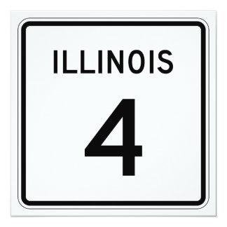 """Ruta 4 de Illinois Invitación 5.25"""" X 5.25"""""""