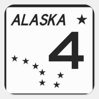 Ruta 4 del estado de Alaska Pegatina Cuadrada