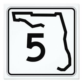 """Ruta 5 del estado de la Florida Invitación 5.25"""" X 5.25"""""""