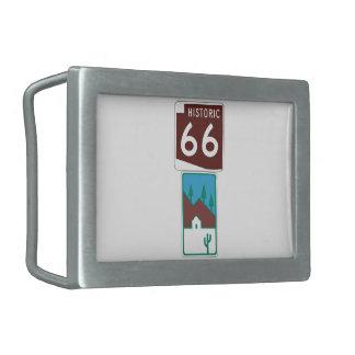 Ruta 66 - 66 históricos y camino escénico hebillas de cinturon rectangulares