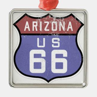 Ruta 66 adorno navideño cuadrado de metal