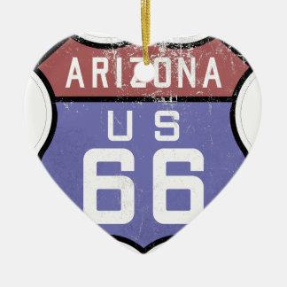 Ruta 66 adorno navideño de cerámica en forma de corazón