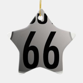 Ruta 66 adorno navideño de cerámica en forma de estrella