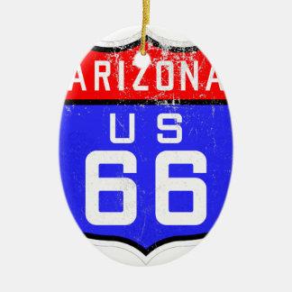 Ruta 66 adorno navideño ovalado de cerámica