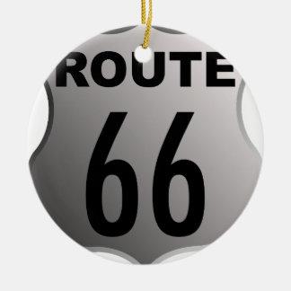Ruta 66 adorno navideño redondo de cerámica
