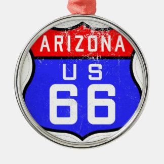 Ruta 66 adorno navideño redondo de metal