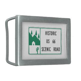 Ruta 66 - Camino escénico de los E.E.U.U. 66 histó Hebilla De Cinturon Rectangular