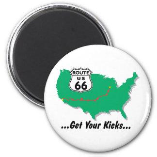 Ruta 66: Consiga sus retrocesos Imanes Para Frigoríficos