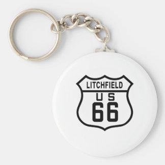 Ruta 66 de Litchfield, Illinois Llavero Redondo Tipo Pin
