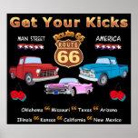 Ruta 66 de los años 50 del vintage impresiones
