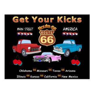 Ruta 66 de los años 50 del vintage postal