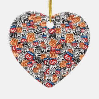Ruta 66 adorno de cerámica en forma de corazón