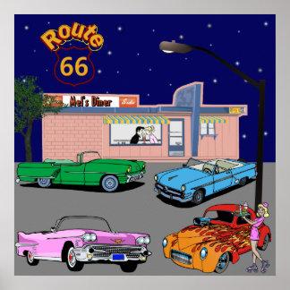 ruta 66 del comensal de los años 50 y coches del v posters