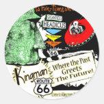 Ruta 66 del UFO del extranjero del estilo de los a Etiquetas Redondas