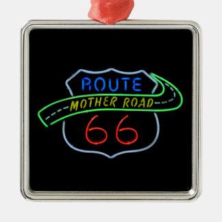 Ruta 66, el camino de la madre, señal de neón adorno navideño cuadrado de metal