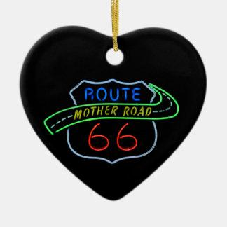 Ruta 66, el camino de la madre, señal de neón adorno navideño de cerámica en forma de corazón