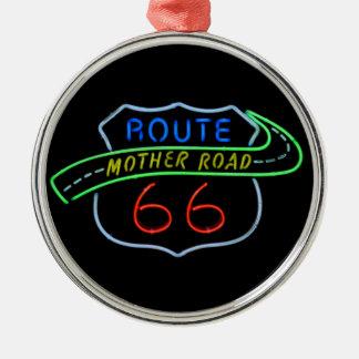 Ruta 66, el camino de la madre, señal de neón adorno navideño redondo de metal