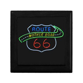 Ruta 66, el camino de la madre, señal de neón joyero cuadrado pequeño