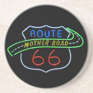 Ruta 66, el camino de la madre, señal de neón posavaso para bebida