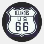 Ruta 66 Illinois Pegatina Redonda