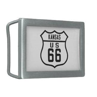 Ruta 66 - Kansas Hebillas Cinturón Rectangulares