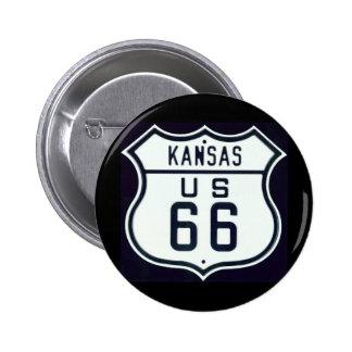 Ruta 66 Kansas Pin Redondo De 2 Pulgadas
