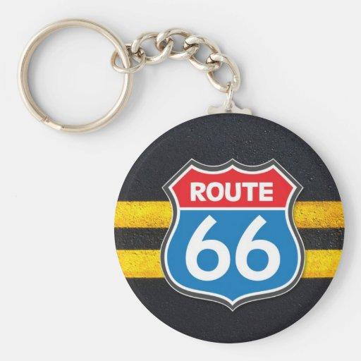 Ruta 66 llavero redondo tipo pin