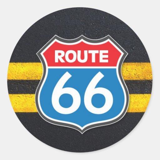 Ruta 66 pegatina redonda