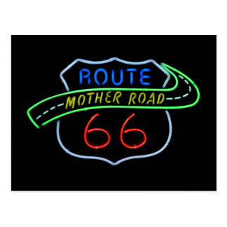 """Ruta 66"""" señal de neón del camino de la madre"""" postales"""