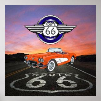 Ruta 66 - Vintage - coche clásico - SRF Posters