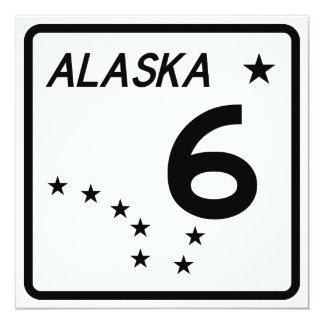 """Ruta 6 del estado de Alaska Invitación 5.25"""" X 5.25"""""""