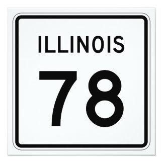 """Ruta 78 de Illinois Invitación 5.25"""" X 5.25"""""""