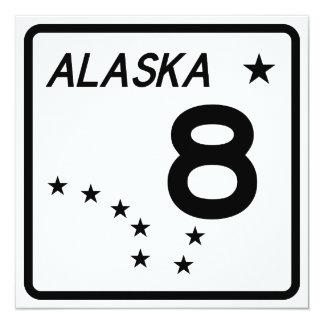"""Ruta 8 del estado de Alaska Invitación 5.25"""" X 5.25"""""""