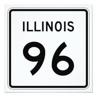"""Ruta 96 de Illinois Invitación 5.25"""" X 5.25"""""""