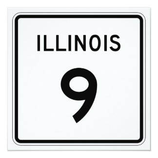 """Ruta 9 de Illinois Invitación 5.25"""" X 5.25"""""""