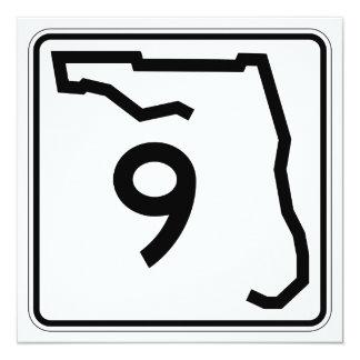 """Ruta 9 del estado de la Florida Invitación 5.25"""" X 5.25"""""""