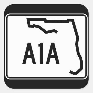 Ruta A1A del estado de la Florida Pegatina Cuadrada